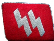 SS Officer's Embroidery on Red Fabric Collar Tab